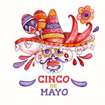 Ręcznie malowane akwarela ilustracja cinco de mayo