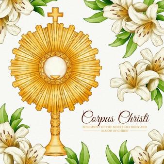 Ręcznie malowane akwarela ilustracja corpus christi