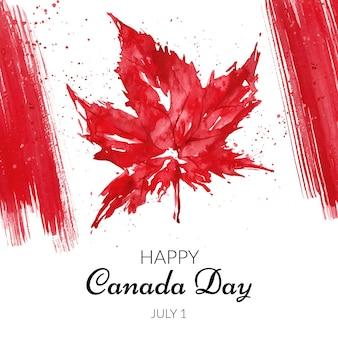 Ręcznie malowane akwarela ilustracja dzień kanady