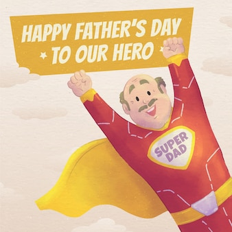Ręcznie malowane akwarela ilustracja dzień ojca