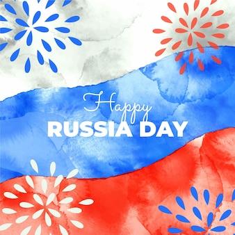 Ręcznie malowane akwarela ilustracja dzień rosji