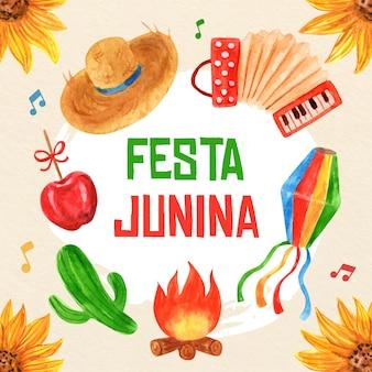 Ręcznie malowane akwarela ilustracja festa junina