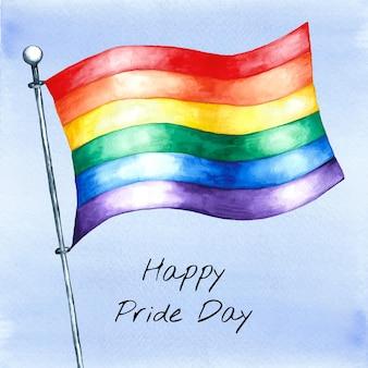 Ręcznie malowane akwarela ilustracja flaga dnia dumy