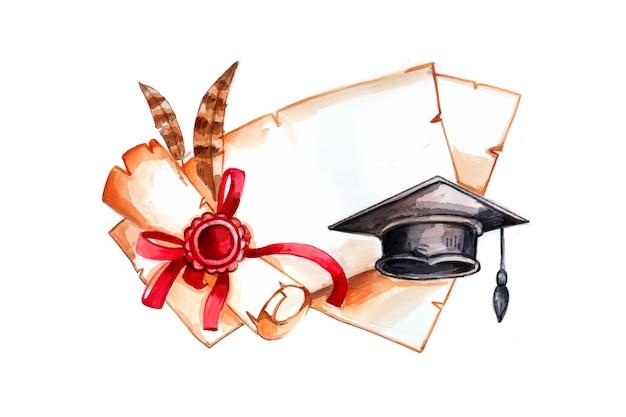 Ręcznie malowane akwarela ilustracja ukończenia szkoły