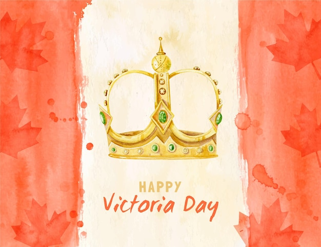 Ręcznie malowane akwarela kanadyjska wiktoria dzień ilustracja