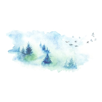 Ręcznie malowane akwarela krajobraz tekstury tła