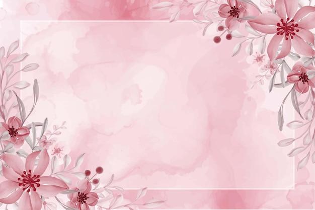 Ręcznie malowane akwarela kwiat różowym tle