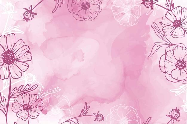 Ręcznie malowane akwarela kwiat stokrotka różowe tło