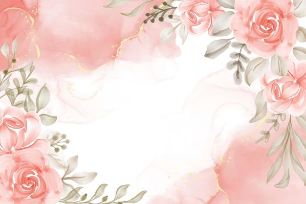 Ręcznie malowane akwarela kwiatowy brzoskwinia pomarańczowe tło