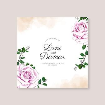 Ręcznie malowane akwarela kwiatowy na szablon karty ślubu