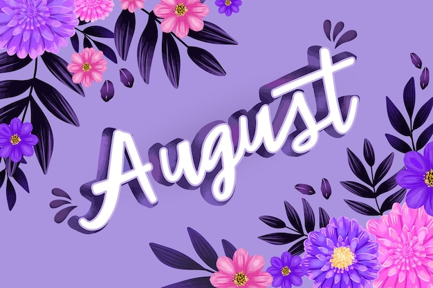 Ręcznie malowane akwarela kwiatowy napis sierpnia