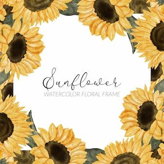 Ręcznie malowane akwarela kwiatowy rama słonecznika