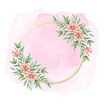 Ręcznie malowane akwarela kwiatowy rama