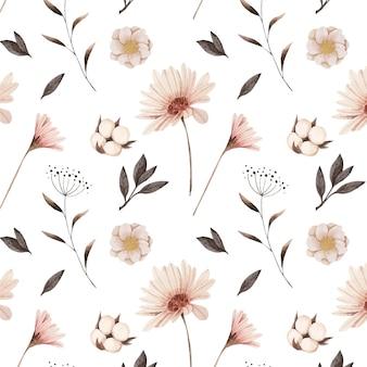 Ręcznie malowane akwarela kwiatowy wzór w odcieniach brzoskwini