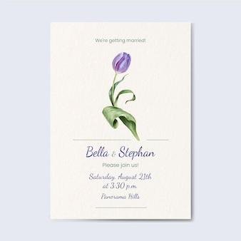 Ręcznie malowane akwarela kwiatowy zaproszenie na ślub szablon