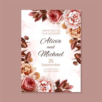 Ręcznie malowane akwarela kwiatowy zaproszenie na ślub