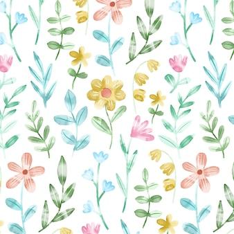Ręcznie Malowane Akwarelą Kwiaty Tłoczone Wzór Darmowych Wektorów