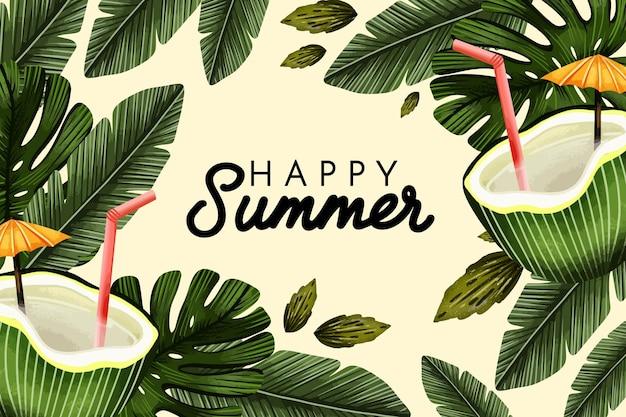 Ręcznie malowane akwarela lato ilustracja