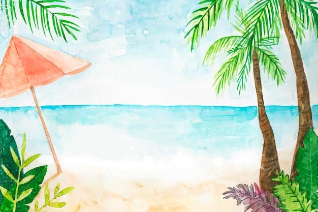 Ręcznie malowane akwarela lato tło do wideokonferencji