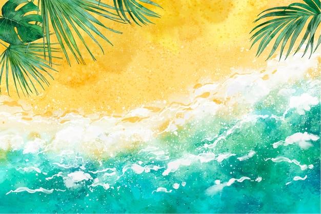 Ręcznie malowane akwarela lato tło