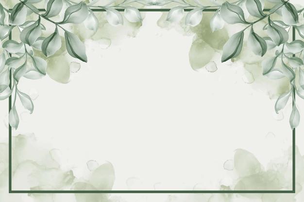 Ręcznie malowane akwarela liść zielone tło
