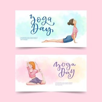 Ręcznie malowane akwarela międzynarodowy dzień jogi zestaw banerów