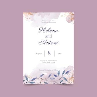 Ręcznie malowane akwarela minimalistyczny szablon zaproszenia ślubne