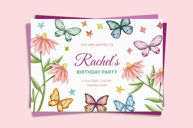 Ręcznie malowane akwarela motyl szablon zaproszenia urodzinowe