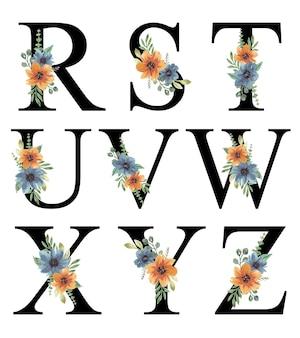 Ręcznie malowane akwarela niebieski pomarańczowy kwiatowy wzór alfabetu do edycji