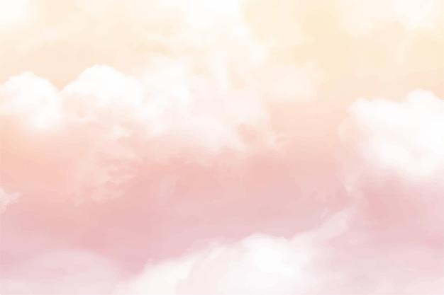 Ręcznie malowane akwarela pastelowe niebo chmury tle