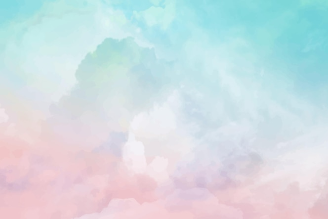 Ręcznie malowane akwarela pastelowe niebo w tle