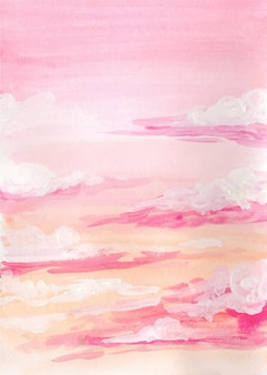Ręcznie malowane akwarela pastelowe tło nieba