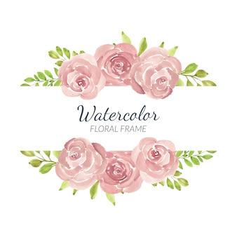 Ręcznie malowane akwarela różowa róża kwiatowy granicy