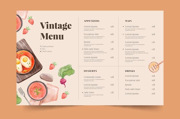 Ręcznie malowane akwarela rustykalne menu restauracji