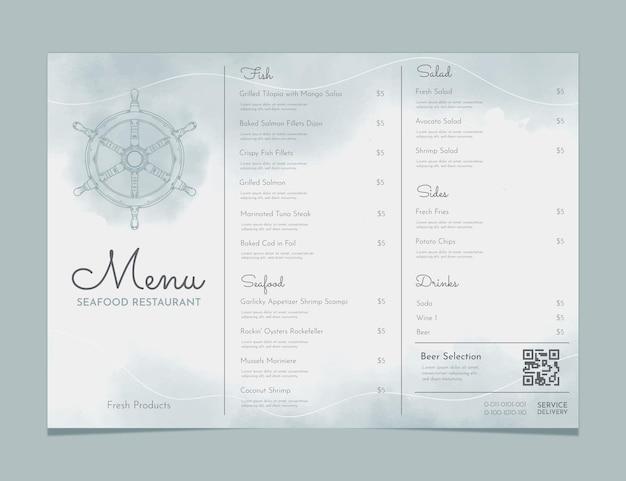 Ręcznie malowane akwarela rustykalny szablon menu restauracji