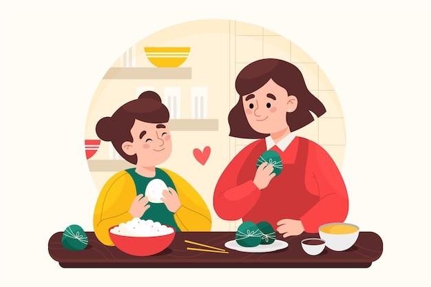Ręcznie malowane akwarela smoczej łodzi rodziny przygotowującej i jedzącej ilustrację zongzi