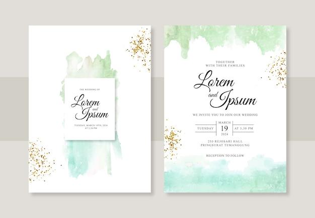 Ręcznie malowane akwarela splash na piękny szablon zaproszenia ślubne