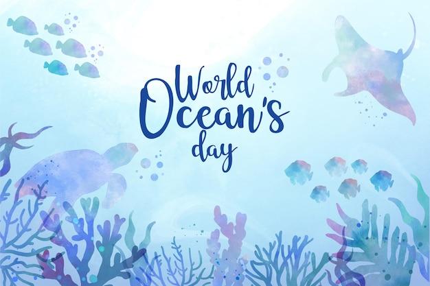 Ręcznie malowane akwarela świat oceanów dzień ilustracji