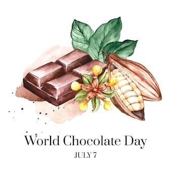 Ręcznie malowane akwarela światowy dzień czekolady ilustracja