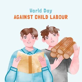 Ręcznie malowane akwarela światowy dzień przeciwko ilustracji pracy dzieci