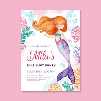Ręcznie malowane akwarela syrenka szablon zaproszenia urodzinowe
