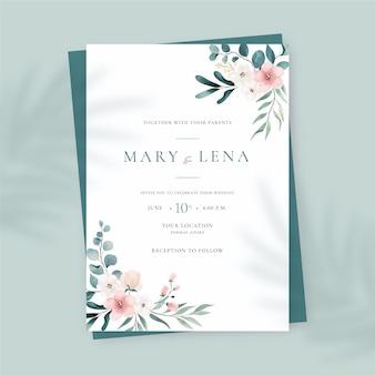 Ręcznie malowane akwarela szablon zaproszenia ślubne