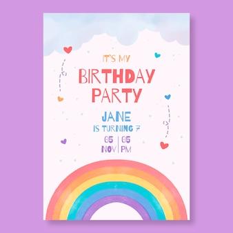 Ręcznie malowane akwarela tęcza szablon zaproszenia urodzinowe