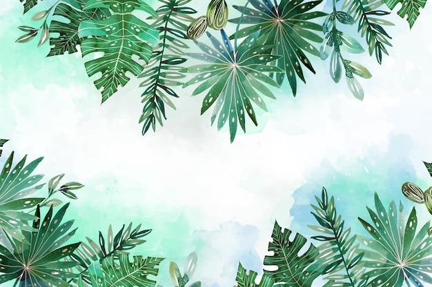 Ręcznie malowane akwarela tropikalne liście tło