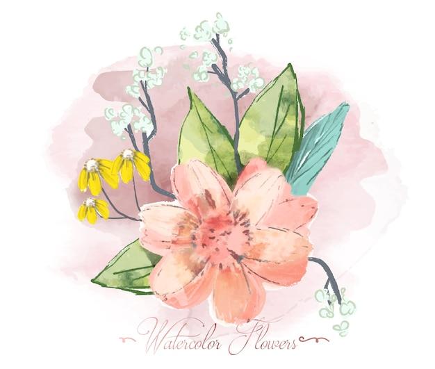 Ręcznie malowane akwarela tropikalny kwiat na gałęzi z tropikalnymi kwiatami, fototapeta safari.