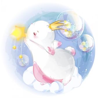 Ręcznie malowane akwarela tropikalny ładny zwierzę królik na gałęzi z tropikalnymi kwiatami i liśćmi