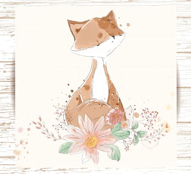 Ręcznie malowane akwarela tropikalny słodkie zwierzę lis na gałęzi z tropikalnymi kwiatami i liśćmi