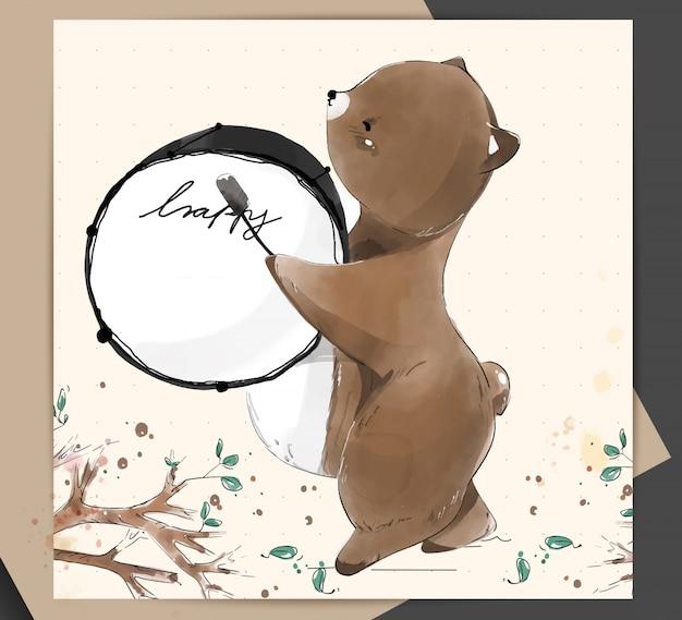 Ręcznie malowane akwarela tropikalny słodkie zwierzę niedźwiedź na gałęzi z tropikalnymi kwiatami i liśćmi