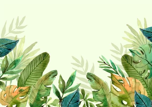 Ręcznie malowane akwarela tropikalnych liści w tle