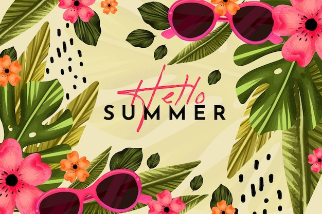 Ręcznie malowane akwarela witaj lato ilustracja